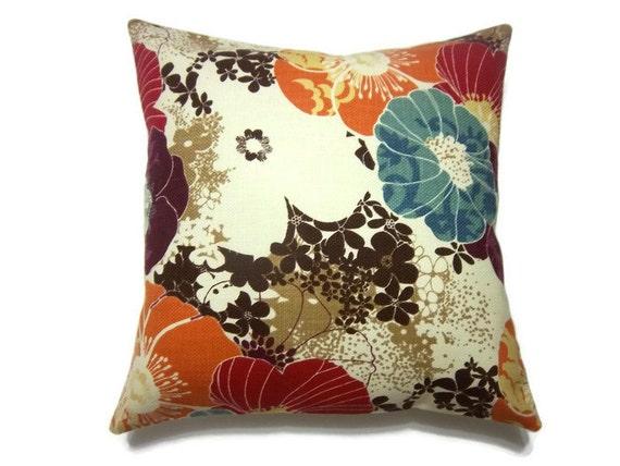 Decorative Pillow Cover Tangerine Orange Aqua Purple Red Brown