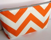 Fabric Zippered Pouch Clutch Bag - Orange and White Chevron