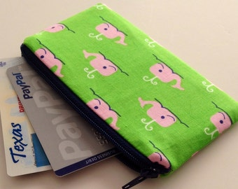 Zippered Coin Purse Wallet - Fabric Business Card Holder - Pink Whales on Green