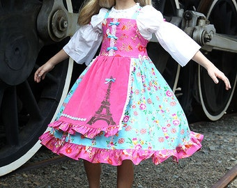 Girls Paris Eiffel Tower pink blue Apron Twirl dress  LAST ONE AVAILABLE