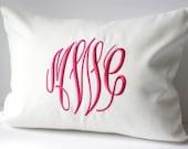 Monogram Pillow Cover. Custom Decorative Throw Pillow 12 x 16. Dorm Decor. Graduation Gift. Preppy Pillow. Class of 2016. Sew Gracious.