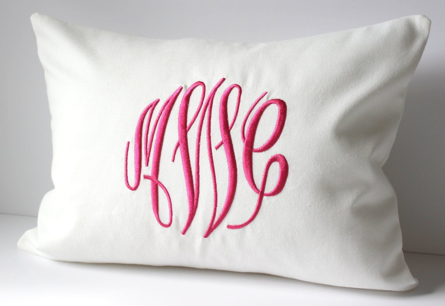 Monogram Pillow Cover. Custom Decorative Throw Pillow 12 X 16