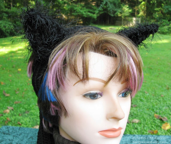 Black Cat Ears On Crochet Headband For Halloween Costumes