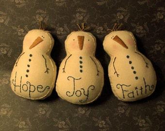 Primitive Stitchery Pattern 3 Snowman Ornies Hope Joy Faith Ornaments