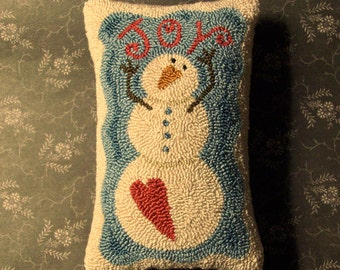 Primitive Needle Punch Pillow - Winter Joy -Snowman - Valentine - Finished Pillow