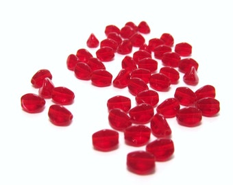 Deep Cherry Red Czech Glass Pinch Beads, 5mm x 3mm - 50 pieces