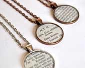 Custom Shakespeare Necklace - Recycled Book Jewelry