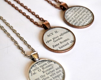 CUSTOM Shakespeare Necklace - Recycled Book Jewelry - Theater Necklace Salvaged Book
