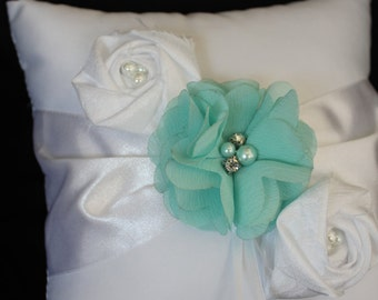 Ring Bearer Pillow Ivory or White with Chiffon Flowers Embellished with Aqua and Satin Flowers