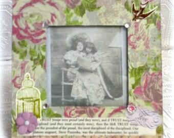 Shabby Rose Picture Photo Frame - Cottage Spring Decor, Handmade Gift