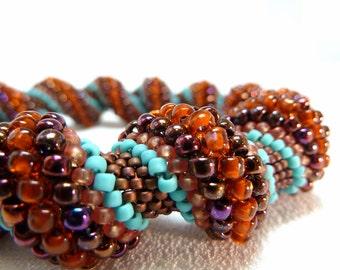 ON SALE - Burnished Leather Cellini Spiral Beadwoven Bracelet