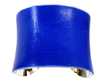 Cobalt Blue Lambskin Leather Silver Lined Cuff Bracelet - by UNEARTHED