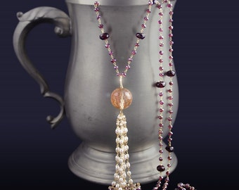 Custom Made to Order - Garnet Tassel Necklace with Pearls, Pyrite, and Golden Rutliated Quartz