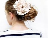 Champagne silk hair flower, Bridal facinator, Barrette, Hair clip