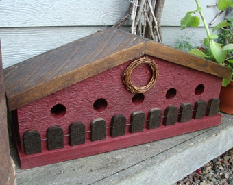 Rustic Red Birdhouse, Bird House, Decorative Birdhouse, Wood Birdhouse, Garden Decor, Primitive Farmhouse Country