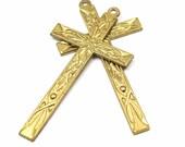 Decorative Brass Cross Pendants (2X) (M654)