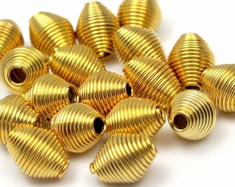 Gold Plated Coil Bicone Beads (32X) (B609)