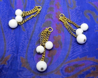 Vintage Japanese White Glass Triple Beaded Charms with Chain (8X) (B543)
