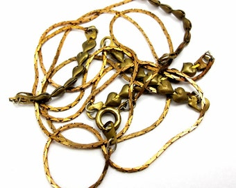 Vintage Brass Foxtail Chain Necklaces with Heart Connector Charms (2X) (C586)