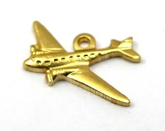 Tiny Brass Airplane Charms (6X) (M759)