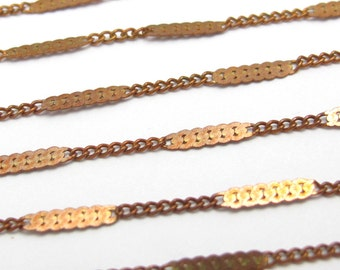 Vintage Red Brass Pressed Curb Chain Necklaces (4x) (C539)