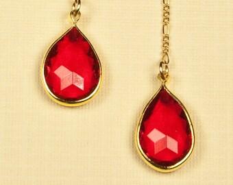 Vintage Red Gem Drop Earrings