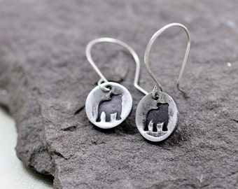 Fine Silver English Bulldog Earrings - Also Available French Bulldog, Dachshund , Boxer , Pit Bull , Pug , Paw Print