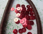 Vintage Sequins Strand MULBERRY RED WINE Metallic couture full strand flat 5mm