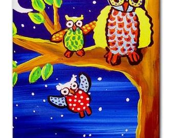 Owls Flying Lesson  Whimsical Folk Art Ceramic Tile