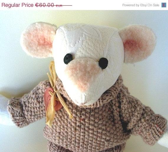CIJ 20 OFF Orsogatto-OOAK teddy bear, made of hand-woven woolen vintage fabric