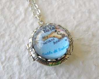 Amalfi, Italy Map Locket - Also featuring Positano, Sorrento, and more - Choose your locket style - Custom map jewelry - Great travel gift
