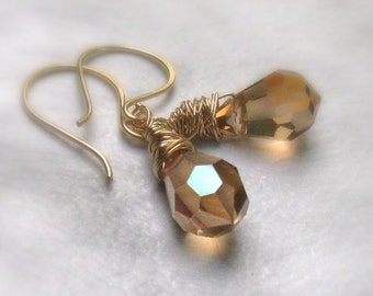 14kt Gold Filled Golden Crystal Earrings, Wire Wrapped Celsian Crystal Teardrops, Handmade Earwires - Gift for Her