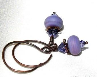 Aubergine Purple Earrings, Antique Copper Handmade Hoopy Hooks, Swarovski Tanzanite Crystals, Artisan Matte Lampwork Glass