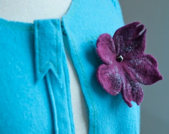 Wine Felt Lily Brooch