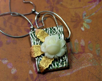 Elegance A Single Rose Charm Necklace Mixed Media Hand Patina