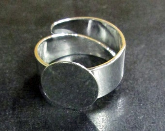 12mm silver plated ring blanks with a super sturdy band, pick your amount