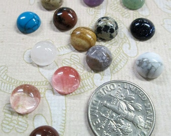 Four  8mm round assorted gem stone cabochons,  mixed color cabs