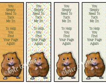 Printable Bookmarks, Hamster Bookmark, Kid's Bookmark, Children's Bookmark, Cute Hamsters, Kid Party Favors, Little Poem, Original Art