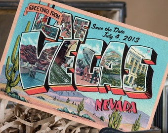 Vintage Large Letter Postcard Save the Date (Las Vegas) - Design Fee