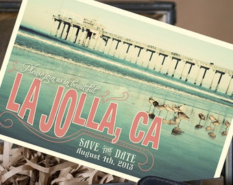 Vintage Travel Postcard Save the Date (La Jolla, CA) - Design Fee