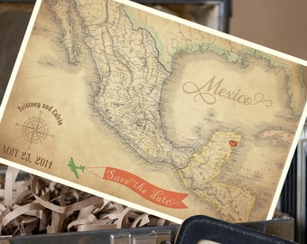 Vintage Map Postcard Save the Date (Mexico) - Design Fee