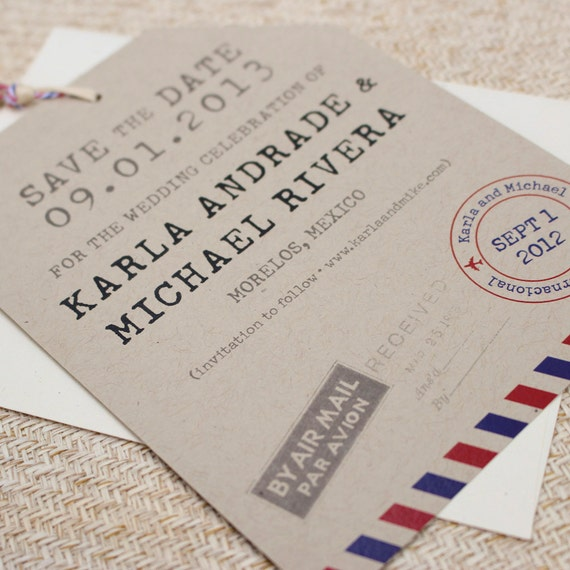 Vintage Air Mail Luggage Tag Flat Card Save The Date Design