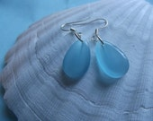 Light Aqua Blue Cats Eye Earrings Glass Beads -  To Benefit Heart Strings