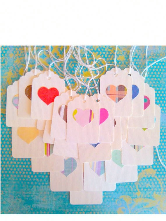 White heart tags, gift tags, favor tags -  chunky set of 30