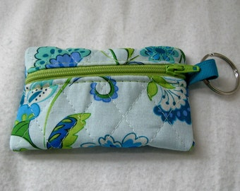 Quilted Coin Purse - Floral Change Purse - Small Zippered Pouch - Teal Lime - Quilted Earbud Case