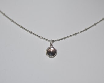 Swank Octagon Mother of Pearl Pendant On Vintage Sterling Chain