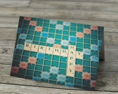 Happy Birthday Scrabble Tiles Letters Card - note card, greeting, photo, photograph, words, still life, blank inside.
