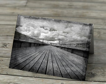 Clevedon Pier - Notecard black and white photography, seaside beach UK Somerset grungy textured monochorme