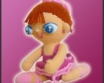 Amigurumi Pattern Crochet Agustina Ballerina Doll DIY Digital Download