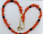 Red Coral Branches Necklace . Black Czech Crystals . Beaded Coral  - Love Story by enchantedbeads on Etsy